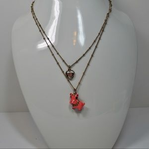 Betsy Johnson Pink Hippo Necklace
